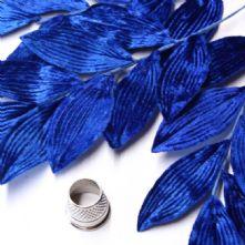 Vintage Bright Royal Silk Velvet Leaf Spray
